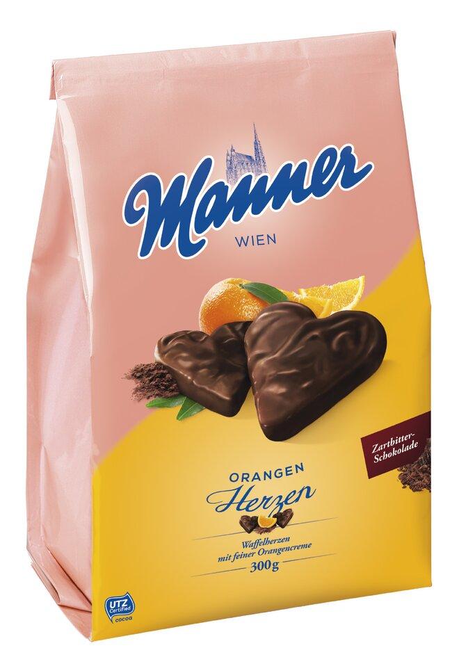 300 g Pomarančové srdiečka Manner