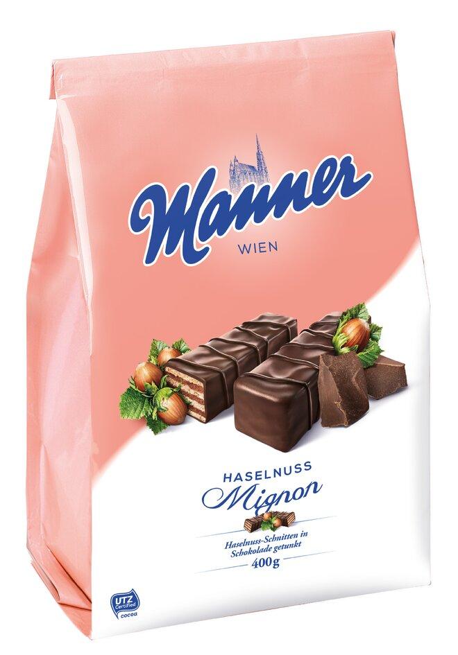 400 g Celomáčané oblátky Manner Hazelnut Dark Chocolate