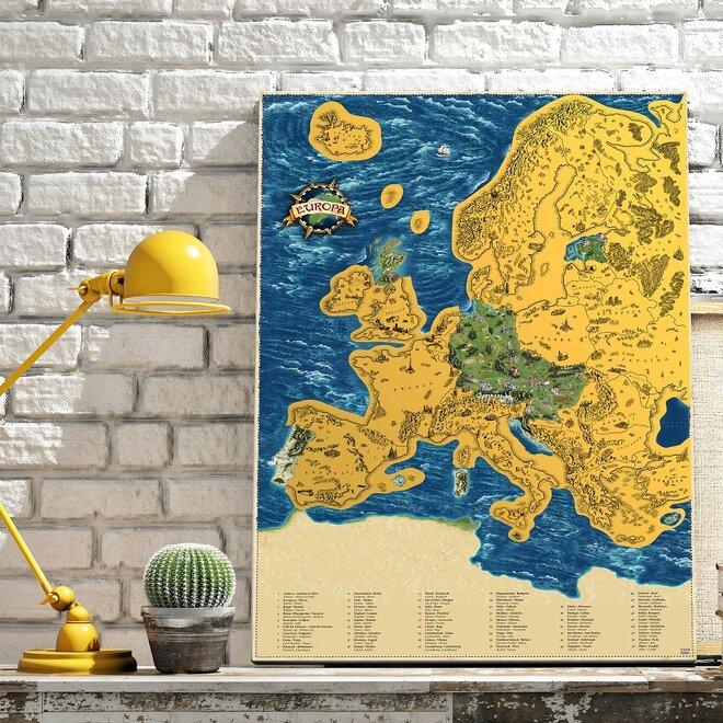 Stieracia mapa Európy Deluxe XL (zlatá)