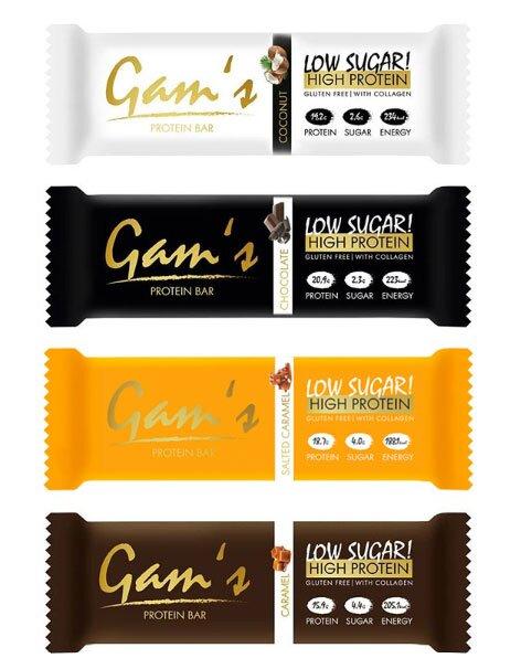 MIX: 20 x 55 g Proteínová tyčinka Gam´s Protein Bar (kokos+čokoláda+slaný karamel+karamel)