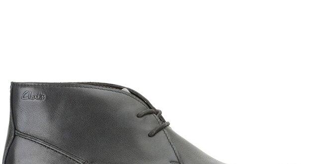 6ca29d10c620 Pánske kožené členkové čierne topánky Clarks