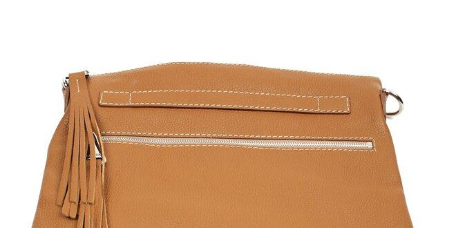 8422b15900f7 Dámska hnedá kožená kabelka so strapcami Acosta