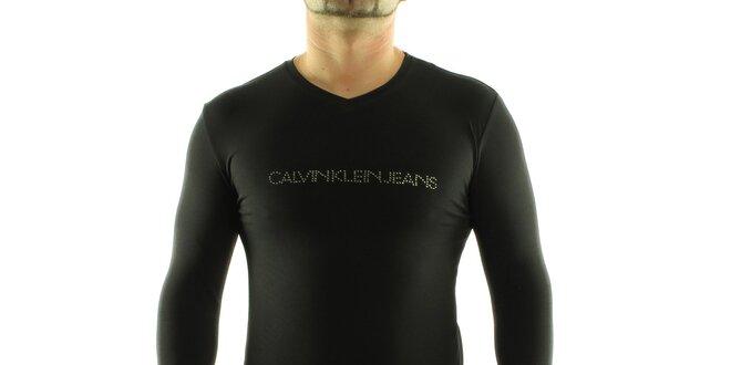 f08de92df Pánske čierne tričko Calvin Klein s kamienkami   Zlavomat.sk