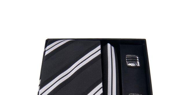 e9bb2ce16 Pánska sada - manžetové gombíky, čierna pruhovaná kravata a vreckovka  Giorgio…
