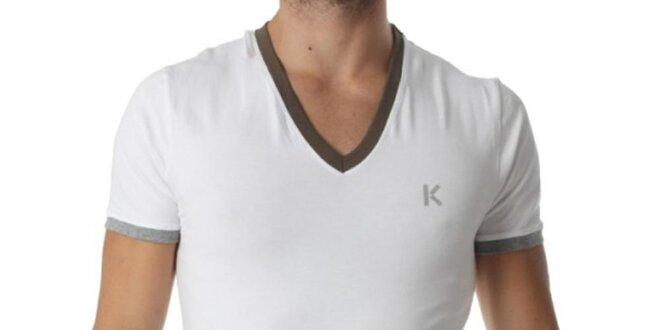 Pánske biele tričko s výstrihom do V a kontrastnými lemami Kenzo