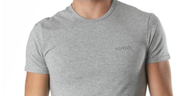 Pánske šedé tričko s krátkym rukávom a výšivkou Kenzo