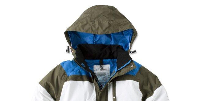 Pánska zeleno-bielo-modrá bunda s kapucňou Brunotti
