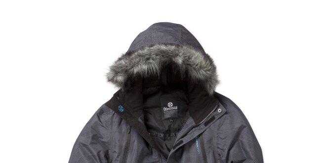Pánska zimná pruhovaná šedá bunda Brunotti