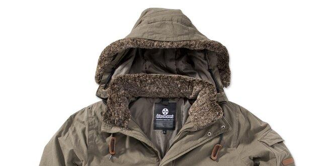 Pánska khaki bunda s kapucňou Brunotti