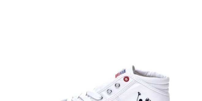 188e6d2c1398 Pánske biele členkové tenisky U.S. Polo látkové