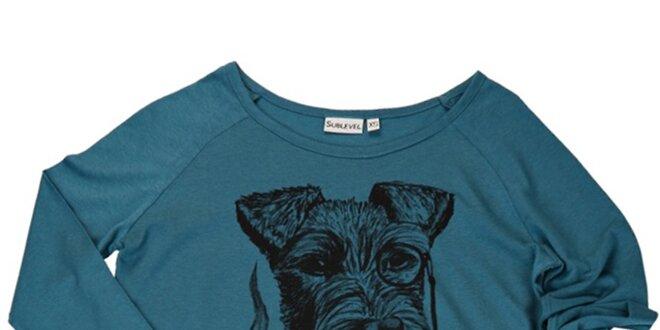 Dámske petrolejovo modré tričko s bradáčom Sublevel
