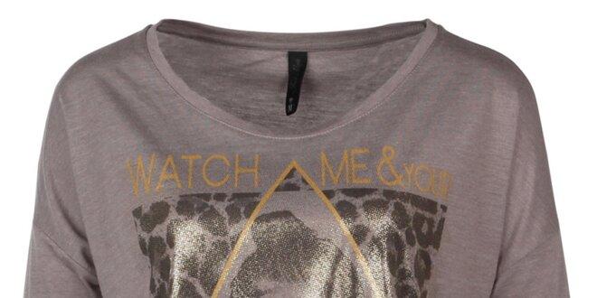 Dámske krátke hnedé tričko s potlačou Fresh Made