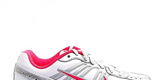 f70e899ac087 Dámske bielo-strieborné bežecké topánky Nike s ružovými detailmi ...
