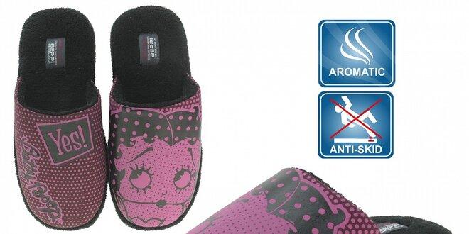 Dámske ružové voňavé papuče Beppi s potlačou