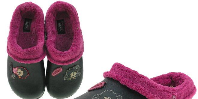Dámske čierne voňavé papuče Beppi s vnútorným kožúškom