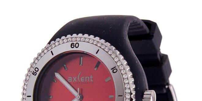 Dámske náramkové hodinky Axcent s čiernym pryžovým remienkom a kamienkami 72750b1d66