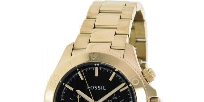 d16c64f88 Pánske analogové hodinky s chronografom v zlatej farbe Fossil ...