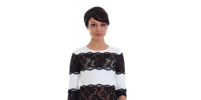 Dámske biele šaty s čiernou čipkou SforStyle