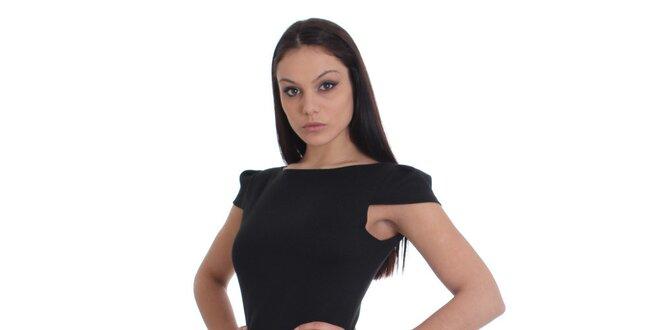 Dámske čierne šaty s čipkovanou sukňou SforStyle
