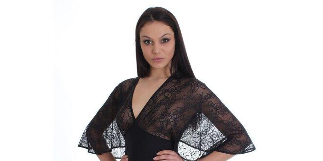 Dámske čierne šaty s čipkovaným vrškom SforStyle