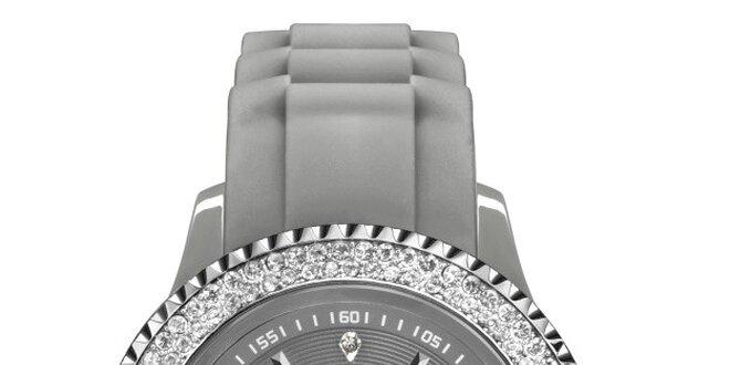 Šedé analógové hodinky s kamienkami Riko Kona