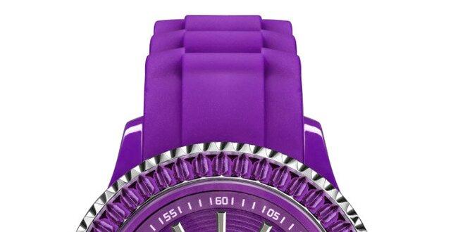 Fialové hodinky so silikónovým remienkom a dátumovkou Riko Kona