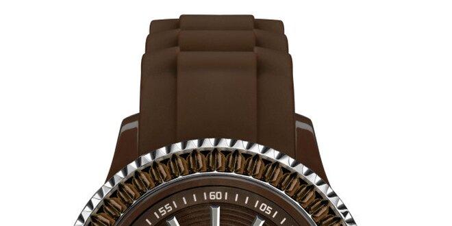 Hnedé hodinky so silikónovým remienkom a dátumovkou Riko Kona