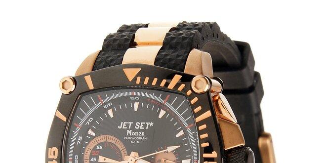 Ocelové hodinky Jet Set s čiernymi detailami a zlatým povlakom