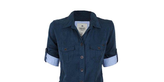 b6f59fe5ed97 Dámske tmavo modré košeľové šaty Timeout