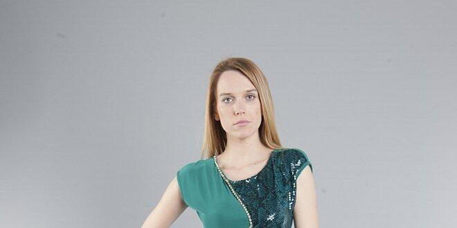6df2dce6ce3 Dámske tyrkysové šaty Via Bellucci s hadím motívom a korálkami ...