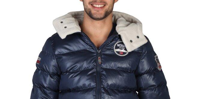 fba3c4d6c Pánska modrá zimná bunda s kapucňou Geographical Norway | Zlavomat.sk