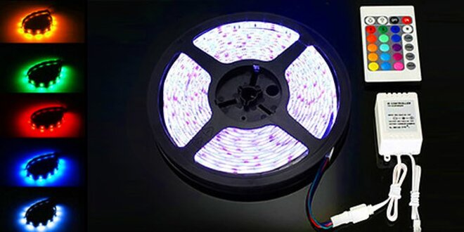 5 metrový farebný LED pás s ovládaním