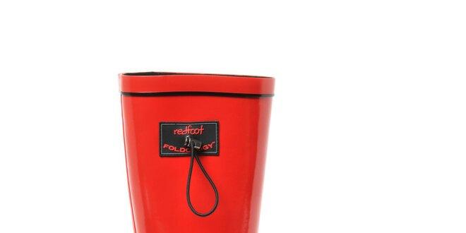 Dámske lesklé červené rolovacie čižmy RedFoot s čiernymi detailami