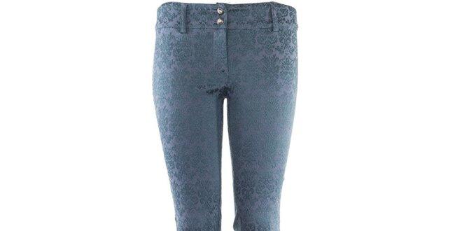 70a1aeda752f Dámske modré vzorované nohavice Hype