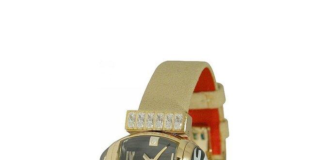 Dámske zlaté náramkové hodinky Gianfranco Ferré s čiernym ciferníkom a  koženým… c245f43ec1