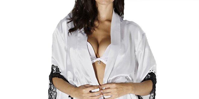 Dámske biele kimono s čipkou Besired
