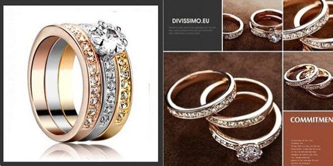 Trojitý prsteň COMMITMENT Swarovski Elements