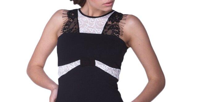 Dámske čierne šaty s bielymi detailmi Arefeva