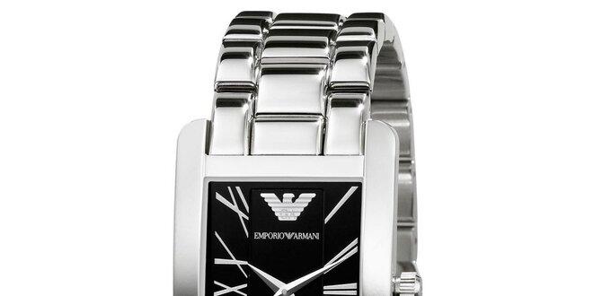 1536ea6a7 Pánske strieborné hodinky s čiernym ciferníkom Emporio Armani ...