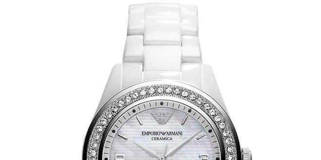 Dámske biele keramické hodinky s kryštálikmi Emporio Armani ... ce46022730c