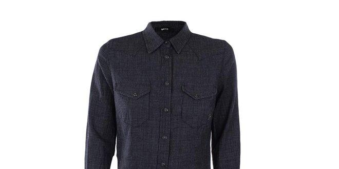 Dámske tmavé košeľové šaty Gas