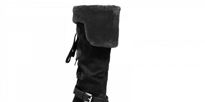 Dámske čierne čižmy Red Hot s kožúškom  7f23347fc15