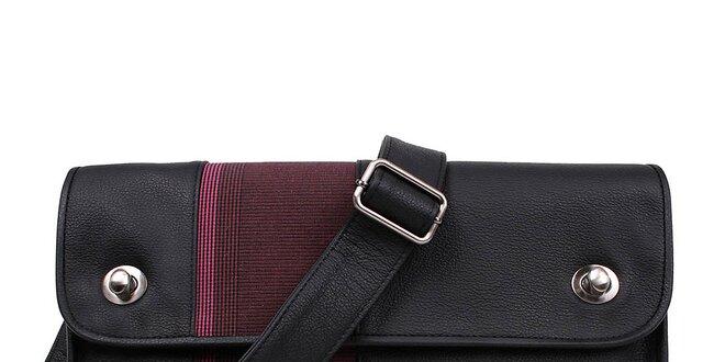 5a25b3a79c Unisex kožená čierna obdĺžniková kabelka s fialovým pruhom Jahn for Jahn