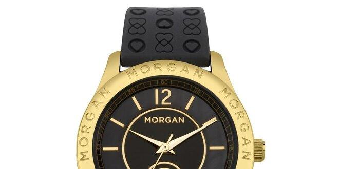 f857ed411 Dámske čierne hodinky s púzdrom v zlatej farbe Morgan de Toi ...