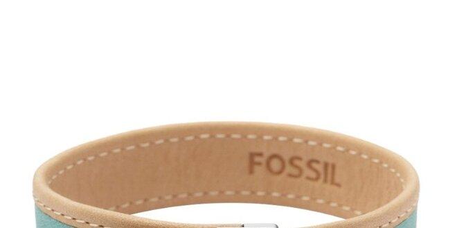 Dámsky béžovo-zelený kožený náramok Fossil