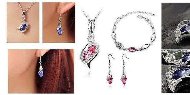 4-dielna sada šperkov v 4 farbách so Swarovski kryštálmi