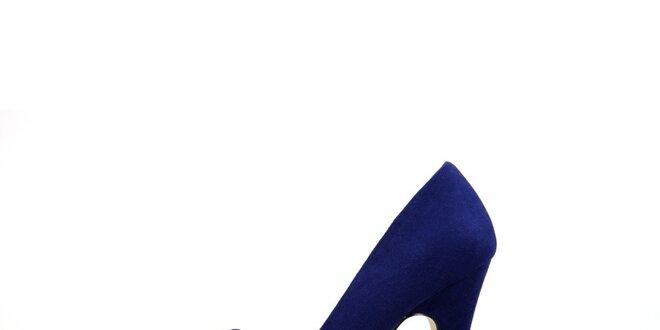 c09f34eab0ba Dámske žiarivo modré semišové lodičky La Strada s mašľou