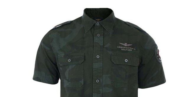 24dd32481555 Pánska maskáčová košeľa s krátkym rukávom Aeronautica Militare ...