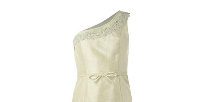 3df6aa4c0619 Dámske krémové šaty Fever s jedným ramienkom a čipkou