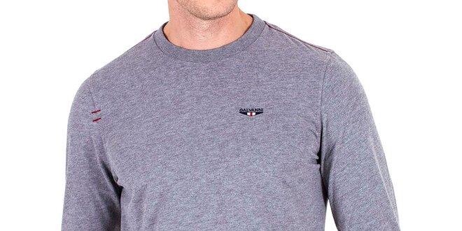 4a6484b843a6 Pánske šedé tričko s dlhým rukávom Galvanni